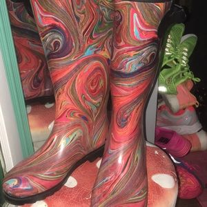 Corkys swirl psychedelic rain boots